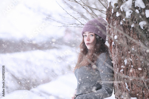 Recess Fitting Fantasy Landscape Girl in a winter park in snowfall