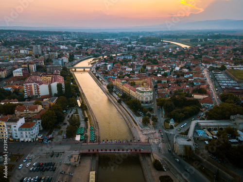 Photo Stands Eastern Europe City of Nis aerial landmark view in Serbia