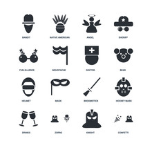 Set Of 16 Icons Such As Confetti, Knight, Zorro, Drinks, Hockey Mask, Bandit, Fun Glasses, Helmet, Doctor Icon