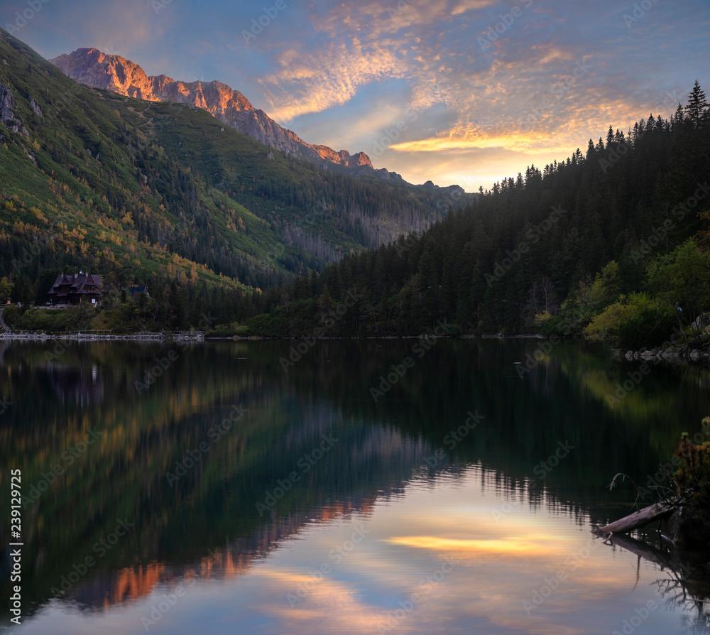 Fototapety, obrazy: mountain lake during sunrise - Morskie Oko, Tatra Mountains, Poland