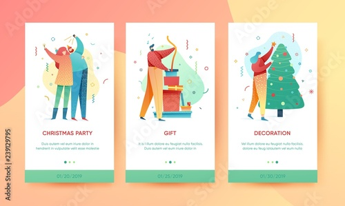 35bc2f1e3d7dc Design winter holidays landing page template. Merry Christmas and Happy New  year website and UI layout. Flat people characters on Christmas party.