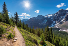 Amazing View Of Touristic Trail In The Rocky Mountains. The Trail In Mountains Near Moraine Lake In Canadian Rockies, Banff National Park, Canada.