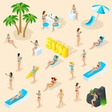 Isometric Cartoon Vector People, Set 3d Girl In Bathing Suits Beach, Sunbathing, Stones, Big Word Sun Summer Vector Illustration
