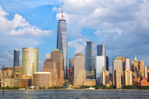 Foto op Canvas Stad gebouw Lower Manhattan skyline over Hudson River, New York