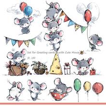 Cartoon Mice. Cute Mouse Illus...