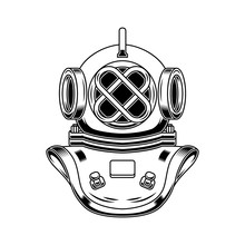 Vintage Diver Helmet In Engraving Style. Design Element For Logo, Label, Emblem, Sign, Poster, T Shirt.