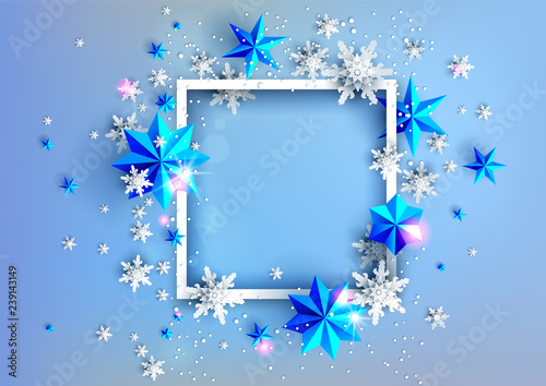 Fotobehang - Realistic shine Banner with place for text template. Shine winter decoration on light blue background with snowflakes and stars