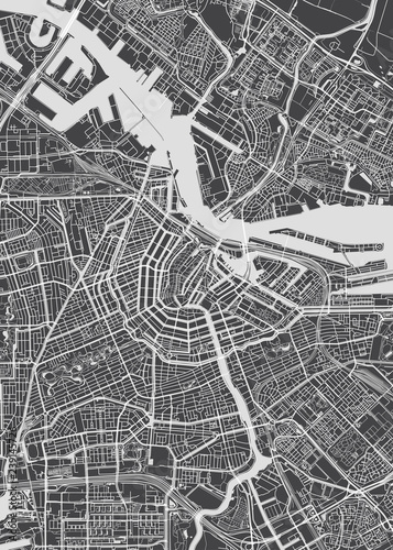 Fototapeta Amsterdam  city-map-amsterdam-monochrome-detailed-plan-vector-illustration