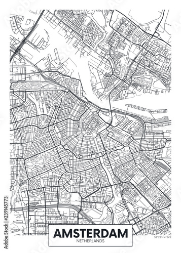 Fotografie, Obraz City map Amsterdam, travel vector poster design