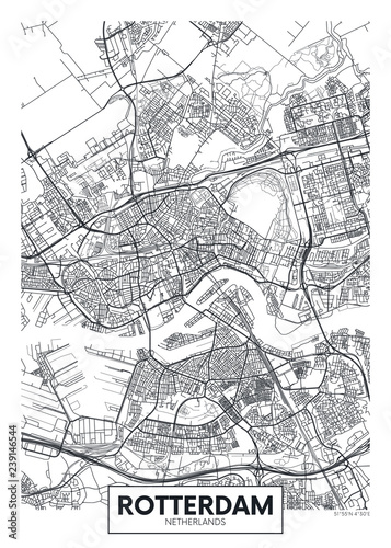 Fotomural City map Rotterdam, travel vector poster design