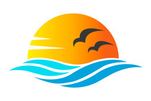 Abstract Design Of Ocean Icon Or Logo With Sun, Sea Waves, Sunset And Seagulls Silhoutte In Simple Flat Style. Concept Of Travel, Holiday Or Tropical. Vector Eps10