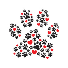 Paw Print Filled With Paw Prints And Hearts.