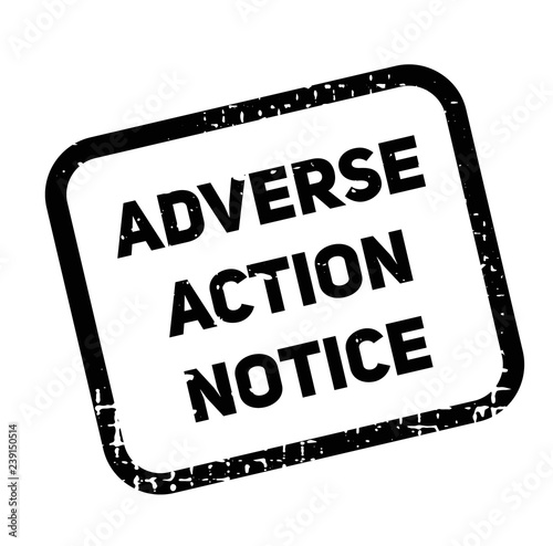 Photo adverse action notice advertising sticker