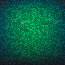 Ornamental Seamless Floral Pattern. Green Festive Background