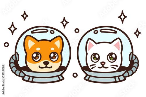 Photo  Cute cartoon space cat and dog