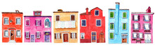 Set Of Watercolor Colorful Illustration Of A Houses From Burano