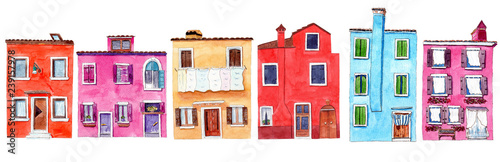 Photo Set of watercolor colorful illustration of a houses from Burano