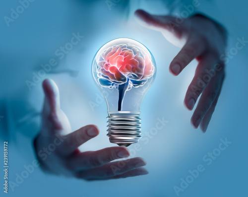 Fototapeta Glühbirne mit Gehirn zwischen Händen obraz na płótnie