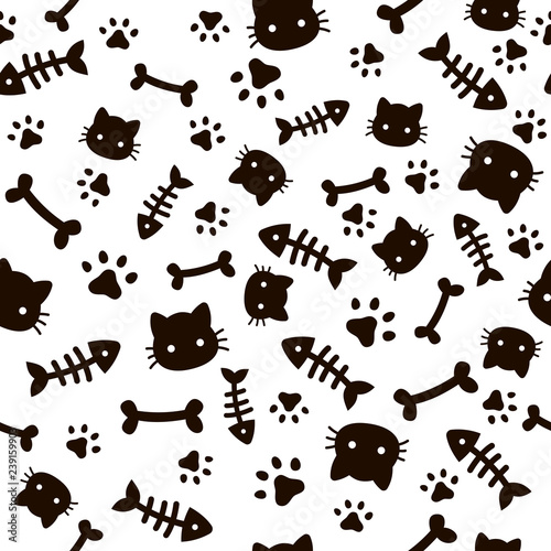 Paw Seamless Pattern Animal Footprints And Bones Cat Dog Paws Wallpaper Cute Puppy Pet Cartoon Vector Background Buy This Stock Vector And Explore Similar Vectors At Adobe Stock Adobe Stock