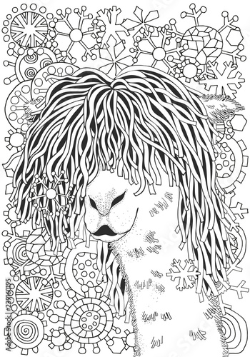 Coloring page of cartoon lama. Lama, coloring for adults and ... | 500x350