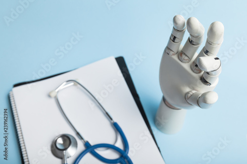 Photo Artificial prosthesis for disabled person with amputated arm.