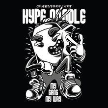 Hype Noodle Black And White Illustration