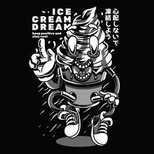 Ice Cream Dream Black And White Illustration