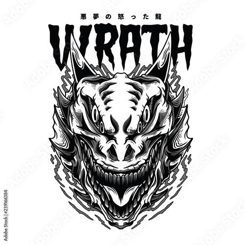Wrath Monster Black and White Illustration Wallpaper Mural