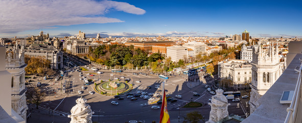 Aerial and panorama view of Cibeles fountain at Plaza de Cibeles. Cibeles Fountain is an iconic place of Madrid City. Spain