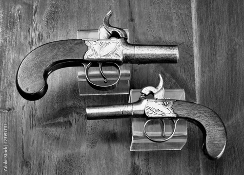 Obraz na plátně  Antique English Percision Muff Pistols.