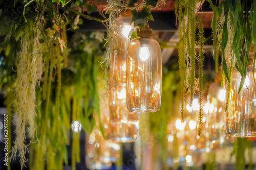 Photo  Luxury vintage glass lamp with vine decoration.