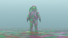 Psychedelic Pink An Green Spaceman With Green Visor Standing In Liquid In A Foggy Overcast Alien Environment 3d Illustration 3d Render