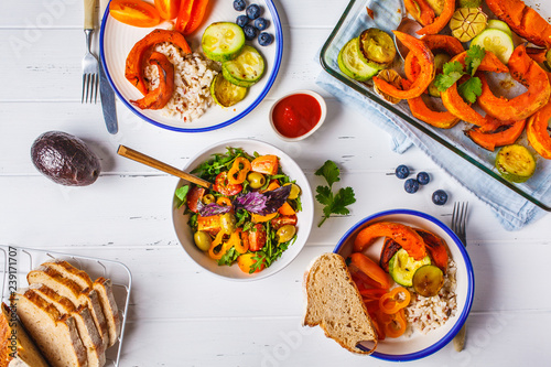 Fotografie, Tablou Vegan lunch table top view, plant based diet