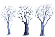Watercolor Set Of Tree Silhoue...