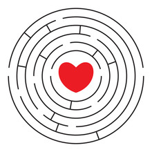 Round Labyrinth With Red Heart