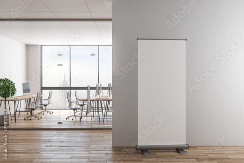 Photo sur Toile Pays d Europe Contemporary office interior with empty poster