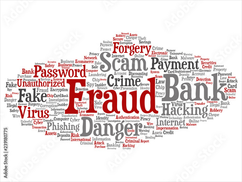Vászonkép Vector conceptual bank fraud payment scam danger abstract word cloud isolated background