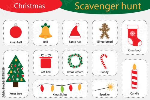 Scavenger hunt, christmas at home, different colorful pictures for children, fun education search game for kids, development for toddlers, preschool activity, set of icons, vector illustration