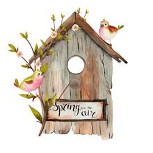 Watercolor Spring Birdhouse Wi...