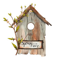 Watercolor Spring Birdhouse With Shoots,  Twigs, Branches, Birds On A White Background