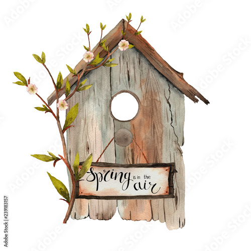 Fotografia Watercolor spring birdhouse with shoots,  twigs, branches, birds on a white back