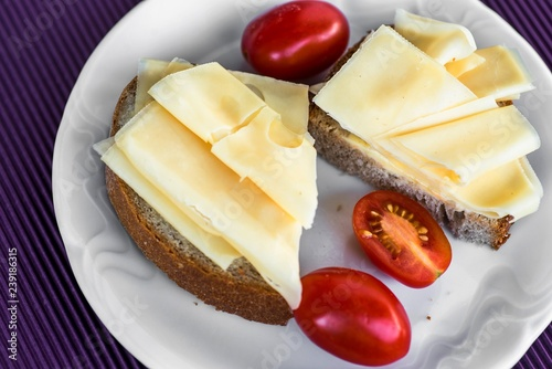 Emmental cheese on two breads with tomato on white plate.