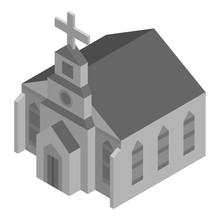 Grey Church House Icon. Isometric Of Grey Church House Vector Icon For Web Design Isolated On White Background