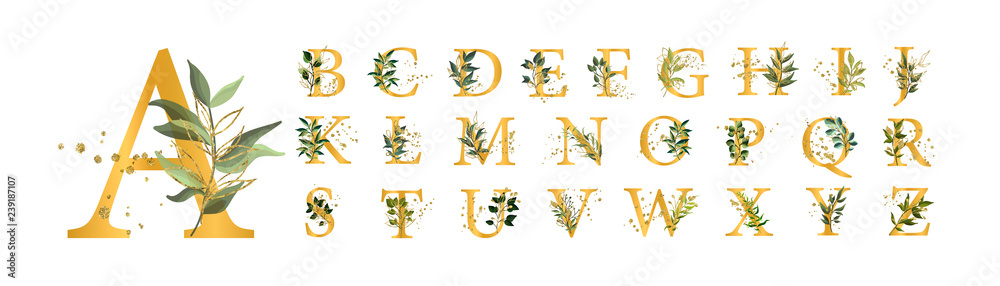 Fototapety, obrazy: Golden floral alphabet font uppercase letters with flowers leaves gold splatters