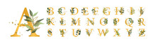 Golden Floral Alphabet Font Up...