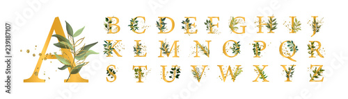 Golden floral alphabet font uppercase letters with flowers leaves gold splatters #239187107