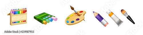 Fotografía vector set of cute tools the professional artist paint palette crayons, pencils