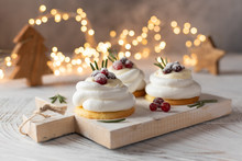 Pavlova Cake With Berry Cranberries On White Background