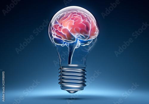 Fototapeta Glühbirne mit Gehirn obraz na płótnie