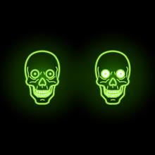 Ufo Green Skull With Neon Effect On Dark Background